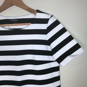 Club Monaco Sz 2 Black & White Striped Dress